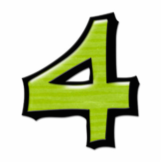 Silly Number 4 green Cake Topper Cutout