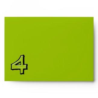 Silly Number 4 green Card Envelope envelope