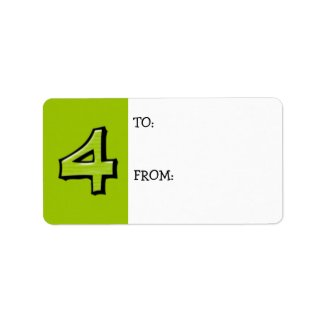 Silly Number 4 green Gift Tag label