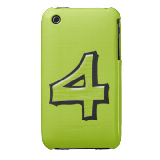 Silly Number 4 green iPhone 3G/3GS Case-Mate Case-Mate iPhone 3 Case