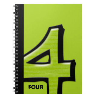 Silly Number 4 green Notebook
