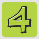 Silly Number 4 green Square Sticker
