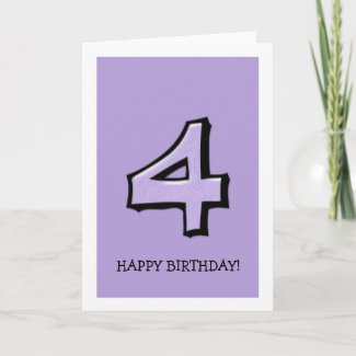 Silly Number 4 lavender Birthday Card card