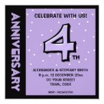 Silly Number 4 lavender dots Anniversary Invite