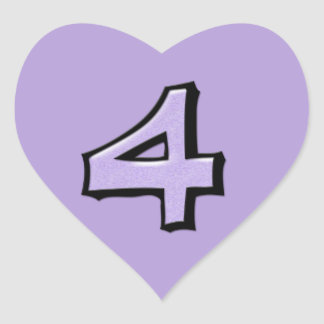 Silly Number 4 lavender Heart Sticker