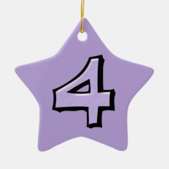 Silly Number 4 lavender Star Ornament