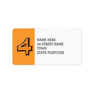 Silly Number 4 orange Address Label label