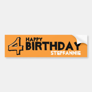 Silly Number 4 orange Birthday Bumper Sticker