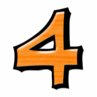 Silly Number 4 orange Cake Topper Cutout