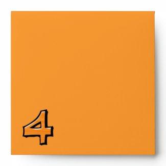 Silly Number 4 orange Invitation Envelope envelope