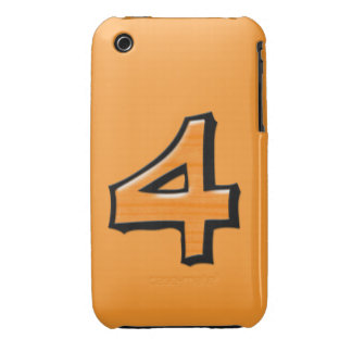 Silly Number 4 orange iPhone 3G/3GS Case-Mate iPhone 3 Case