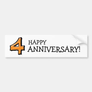 Silly Number 4 orange white Anniversary Sticker