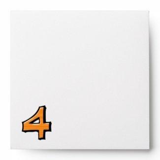 Silly Number 4 orange white Invitation Envelope envelope