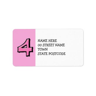 Silly Number 4 pink Address Label label