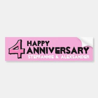 Silly Number 4 pink Anniversary Sticker Car Bumper Sticker