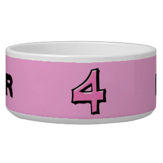 Silly Number 4 pink Bowl Pet Water Bowls
