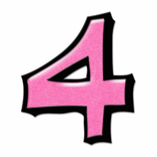 Silly Number 4 pink Cake Topper Statuette