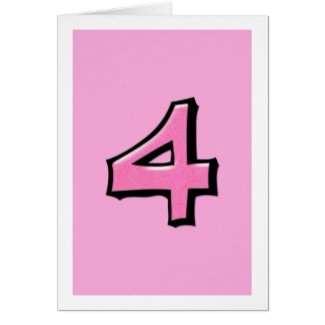 Silly Number 4 pink Card card