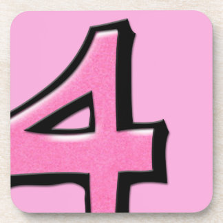 Silly Number 4 pink Cork Coasters