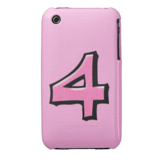 Silly Number 4 pink iPhone 3G/3GS Case-Mate iPhone 3 Case