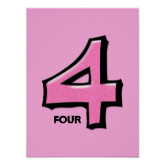 Silly Number 4 pink Poster
