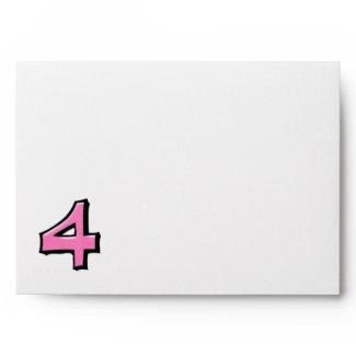 Silly Number 4 pink white Card Envelope envelope