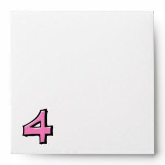 Silly Number 4 pink white Invitation Envelope envelope