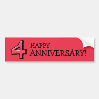 Silly Number 4 red Anniversary Bumper Sticker