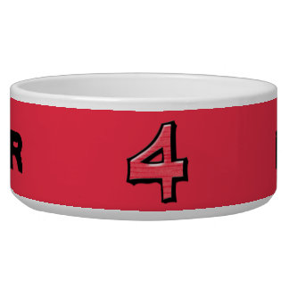 Silly Number 4 red Bowl