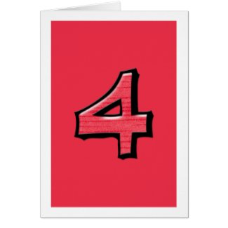 Silly Number 4 red Card card
