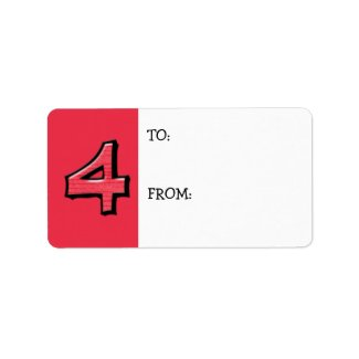 Silly Number 4 red Gift Tag label