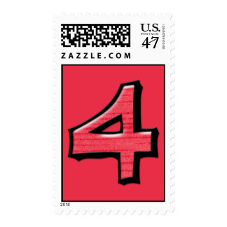 Silly Number 4 red Stamp