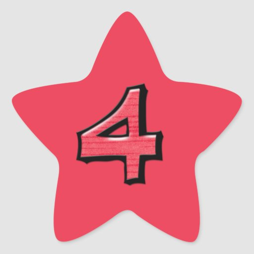 Silly Number 4 Red Star Sticker 217357922252522752