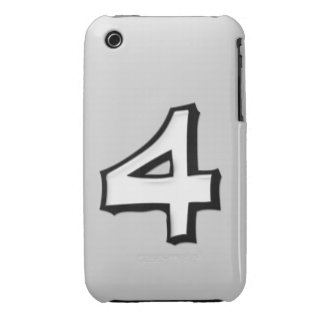 Silly Number 4 white iPhone 3G/3GS Case-Mate Case-Mate iPhone 3 Case