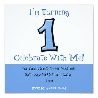 Silly Numbers 1 blue 1st Birthday Invitation