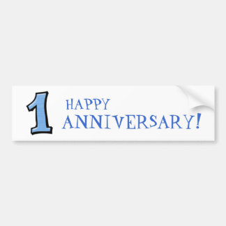 Silly Numbers 1 blue Anniversary Bumper Sticker