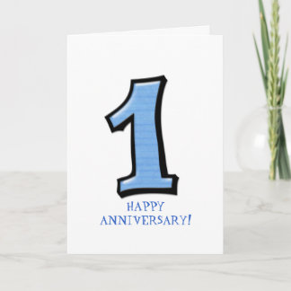 Silly Numbers 1 blue Anniversary Card