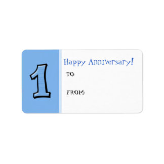 Silly Numbers 1 blue Anniversary Gift Tag Label