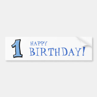 Silly Numbers 1 blue Birthday Bumper Sticker