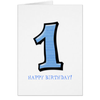 Silly Numbers 1 blue Birthday Card