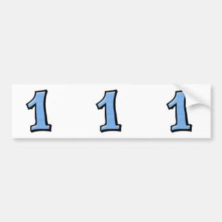 Silly Numbers 1 blue cutout Bumper Stickers