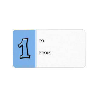 Silly Numbers 1 blue Gift Tag Label