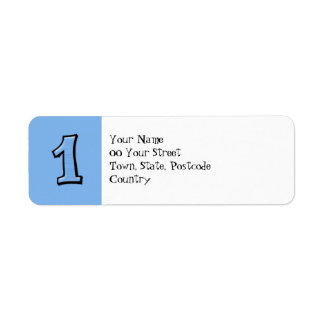 Silly Numbers 1 blue Return Address Label