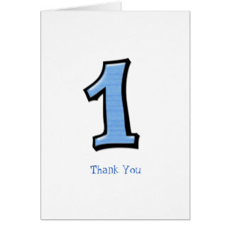Silly Numbers 1 blue Thank You Note Card