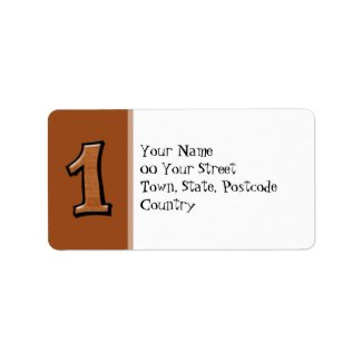 Silly Numbers 1 chocolate Address Label label