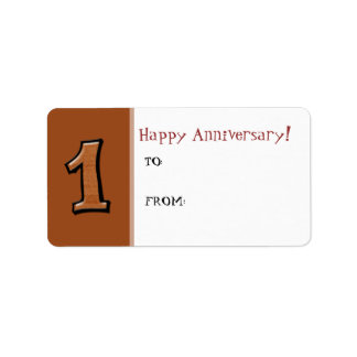 Silly Numbers 1 chocolate Anniversary Gift Label