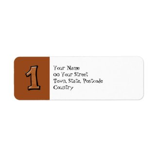 Silly Numbers 1 chocolate Return Address Label label