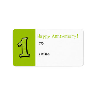 Silly Numbers 1 green Anniversary Gift Tag Label