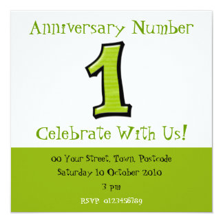 Silly Numbers 1 green Anniversary Invitation