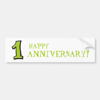 Silly Numbers 1 green Anniversary Stickers